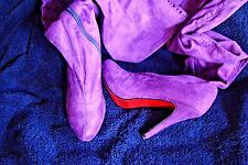 "SEXY BUMPER STILETTO 4.5 "" HEEL OVER THE KNEE STRETCH MICRO SUEDE BOOTS  SIZE 7"