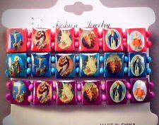 Christian Prayer Bracelets Set Wood Face Bead Jesus Saints PINK BLUE PURPLE Wow!