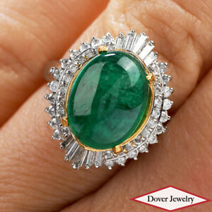 Estate Diamond 6.40ct Emerald Platinum 18K Gold Oval Cocktail Ring 9.9 Grams NR