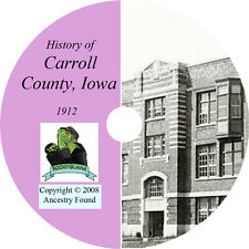 1912 CARROLL County Iowa IA - History & Genealogy - Ancestry Family - CD DVD