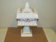 Vintage Westmoreland Wedding Covered Candy Jar Painted Roses Gold Trim VFC