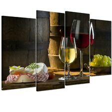 Framed Wall Art Red Wine Cellar Picture Wooden Barrel Printed on Canvas 4Pack