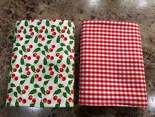 "2 Fat Quarters 100% Cotton Fabric 18""x 21"" EA FQ Lot Small Cherries & Red Plaid"