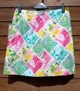 Lilly Pulitzer Pink Patchwork Skirt Lemons Frogs Alligator Shells Floral NWT...