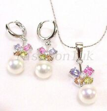 White Gold Plated Pearl CZ Multi-Colour Butterfly Charm Earrings Necklace Set