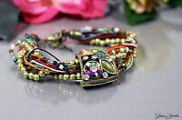 Glass Jewels Bronze Armband Perlen Vintage Statement Bunt Gold Strass #O003