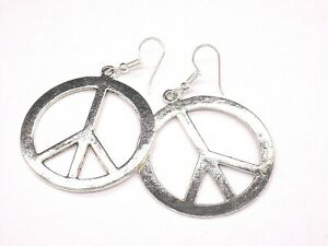 hippy peace and love CND earrings ex large on 925 silver hooks - NEW handmade