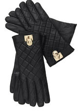 Michael Kors Size L Black Quilted Leather Gloves W/ Gold Padlock & Touch Tip