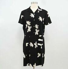 Marc by Marc Jacobs Shirt Dress Womens Floral Black White Buckles M Medium