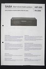 Saba Stéréo Power Amplifier - AMPLIFICATEUR pa-2065 L'INSTRUCTION DE SERVICE /