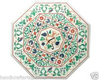 """Size 30""""x30"""" Round Glass Table Top Malachite Stone Inlaid Marquetry Patio Decors"""