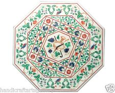"Size 30""x30"" Round Glass Table Top Malachite Stone Inlaid Marquetry Patio Decor"