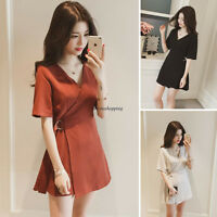 Chic Fashion Women Lady V Neck Short Sleeve A Line Slim Casual Wrap Mini Dress