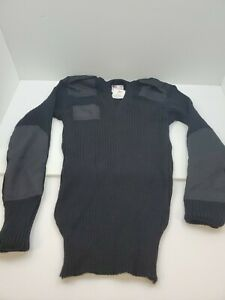 Black Military 100% Wool Long Sleeve V-Neck Commando Sweater Rothco New With Tag