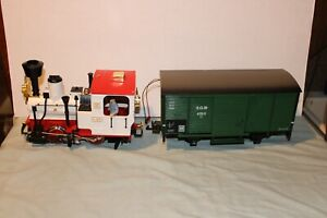 LGB G SCALE STEAM LOCOMOTIVE RUNNING W/ ISSUES, & SOUND CAR NOT WORKING