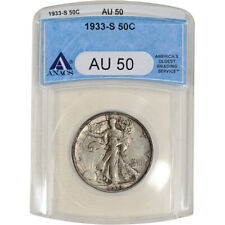 1933-S US Walking Liberty Silver Half Dollar 50C - ANACS AU50