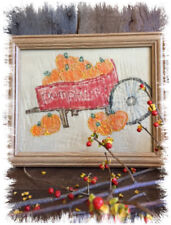 Primitive Style PUMPKINS in WHEELBARROW Halloween Painting in Frame Autumn Decor
