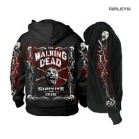 Official The Walking Dead Black Hoody Hoodie Zombie BORDER BONES Zip All Sizes