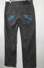 Rocawear Mens Classic Fit Denim Jeans Gray and Blue Flap Pockets 32 x 31