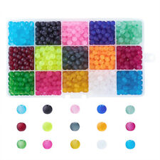 600pcs/box 15 Color Transparent Frosted Glass Dyed Mixed Color Round Beads 6mm