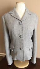Talbots Sz 14 Gray Grey Tweed Jacket Blazer Wool Blend Tweed Lined