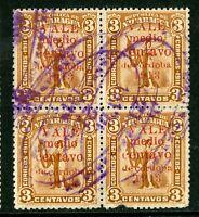 Nicaragua 1913 Gold Liberty ½¢/3¢ Brown Red Overprint Block Sc 311 VFU Q465