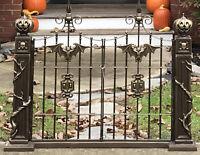 "Cast Iron Metal Cemetary Graveyard Gate Halloween Decoration Prop 36x46"" Heavy"