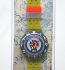 Vintage 90's Swatch Scuba 200 Watch Dive in the Coral Reef Rare Purple/Green