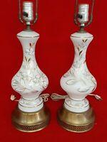 Set of 2 Vintage Lamps With Brass Base / Bottom - Gold Leaf Flowers