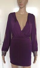 Púrpura, Talla 10, LIPSY, inmersión escote en V vestido mini/short, Sexy, nuevas sin etiquetas, plateado postes