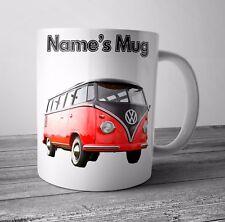Rojo Camper VW Personalizado Taza / Cumpleaños Regalo Navidad - Cualquier Nombre
