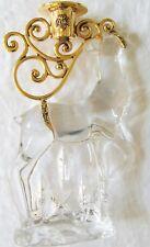 "Czech Republic 8 1/8"" Reindeer Art Crystal Glass and Brass Candle Holder  L5"