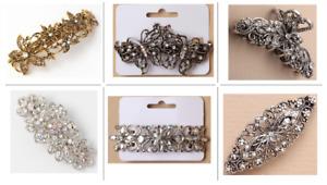 Hair Barrette Clip French clips barrettes slides VINTAGE clip Diamante Crystal
