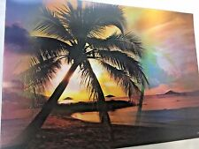 "3D Picture - Palm Trees/Beach/Sunset 13 1/4"" x 9 1/2"" NEW FREE SHIP!"
