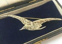 Large Art Deco Silver Marcasite Winged Bird in Flight Brooch, English Silver