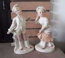 German Porcelain Bisque VICTORIAN WOMEN STATUES  Vintage Lady Figurines