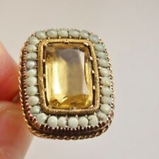 Antique Early Georgian Gold Foiled Citrine & Pearl Dress Ring c1730; UK Size 'S'