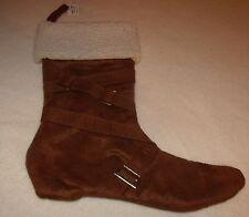 christmas cowboy boot stocking dark brown off white cuff new