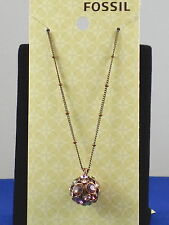 Fossil Brand Brown Ion Plated BERRY BLING Crystal Ball Pendant Necklace JA4801