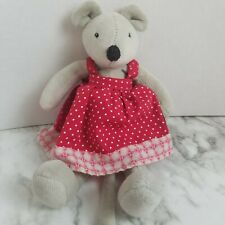 "Moulin Roty NINI Mouse Plush Small La Grande Famille Red Dress 12"""