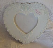 Porcelain Heart Valentines Two Hearts One Love White Photo Picture Frame