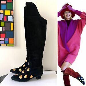 Christian Lacroix Fall 1990 size 36.5 EU boots black suede vintage over knee