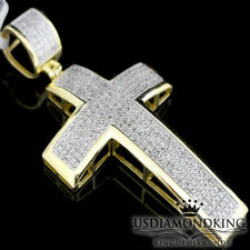 "MEN'S 1.00 CT GENUINE DIAMOND 2"" 10K YELLOW GOLD PLATED CROSS CHARM PENDANT NEW"