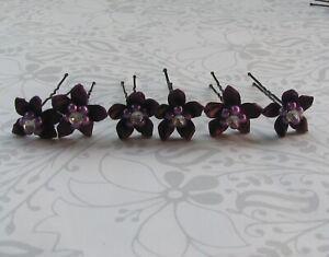 Deep Purple Silk Flower Bridal Bride Wedding Proms Party Flower Girl Hair Pins
