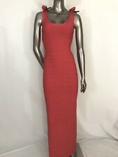 NWOT Herve Leger authentic IMPERFECT SAMPLE  red gown scalloped  dress size S