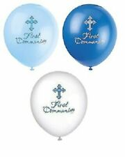 8 First Communion Latex Balloons Blue Boys Religious Party Decoration Helium