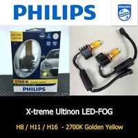 Genuine PHILIPS H8 H11 H16 LED FOG 2700K Yellow Lamp Light Bulb x 2 #AGN