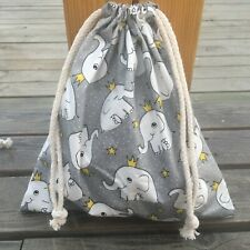 1pc Cotton Twill Drawstring Organizer Bag Party Gift Bag Print Elephant Gray B S