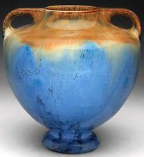 Large Fulper Vase, covered in a blue, brown and tan flambe glaze