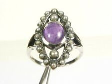 1ct Cabochon Amethyst Seed Pearl Victorian Deco Sterling Filigree Ring s7.25